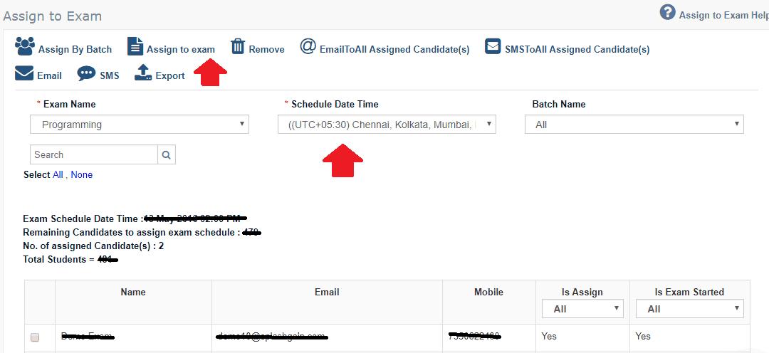 Assign online Exam Schedule