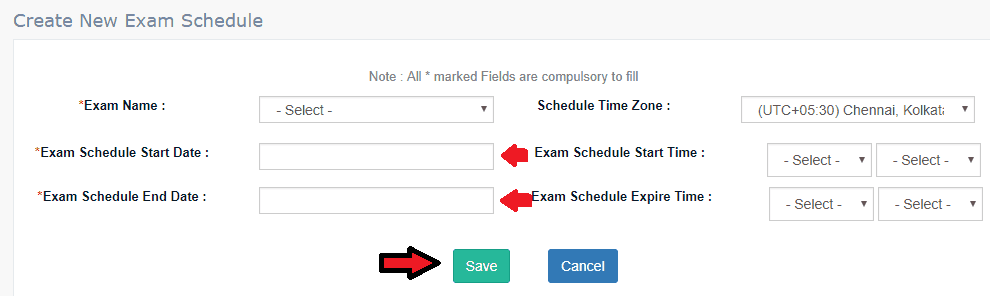 Create NEw Schedule for Online Exam