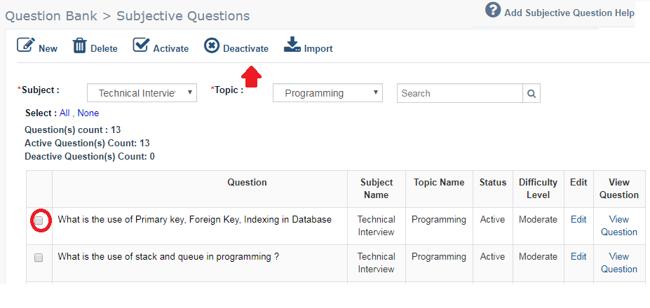 Deactivate Subjective Question from Online Exam