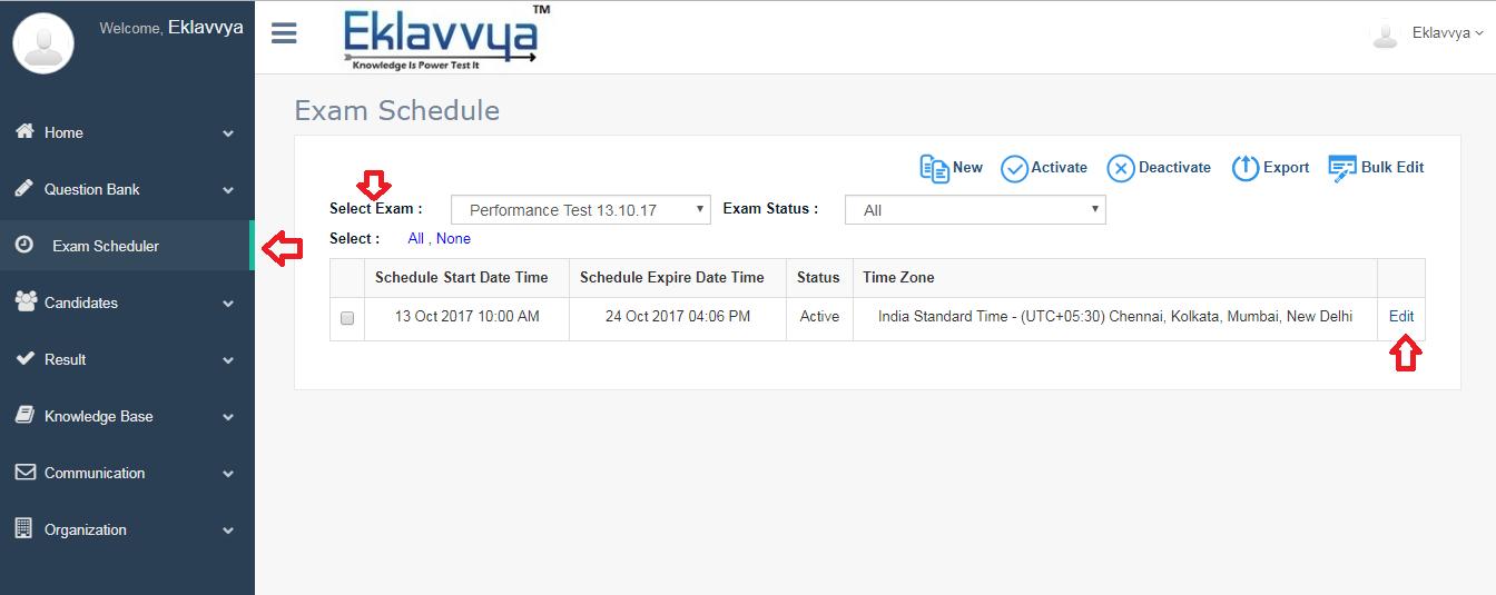 Edit Online Exam Schedule
