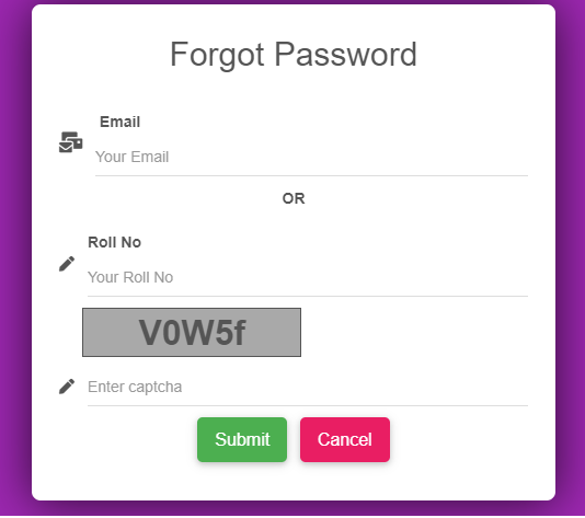Forgot user password