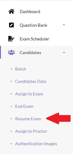 resume-online-exam-process