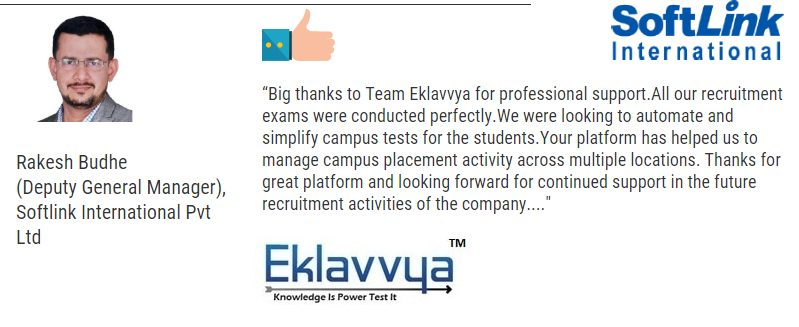Eklavvya Testimonial and feedback about Online exams for recruitment
