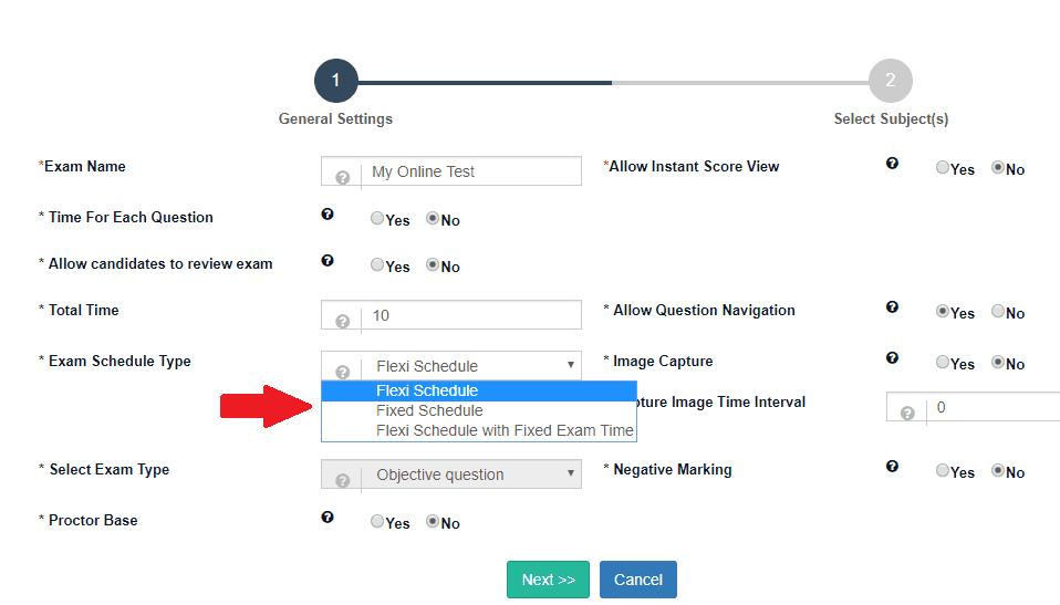 Fix Schedule during Online Exam