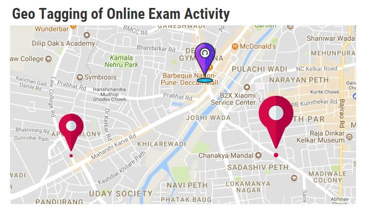 Geo Tagging of Online Exam Activity