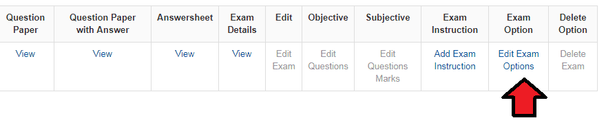 Edit Online Exam Options