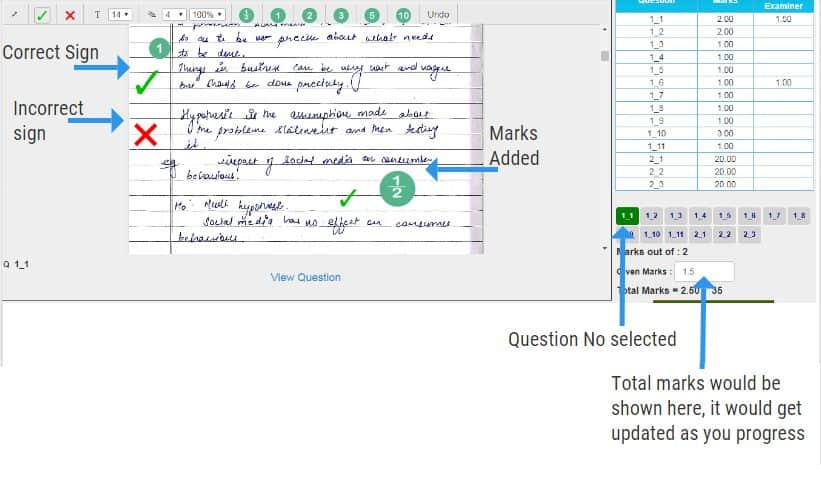 Answersheet with Annotations added for online paper checking