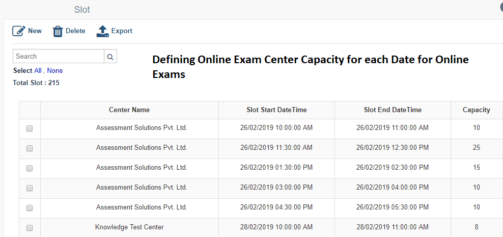 Defining Online Exam Center Capacity for Slot Booking