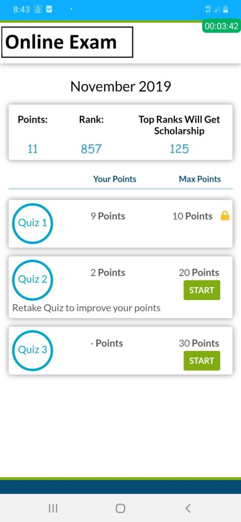 Online Exams in Android App using API