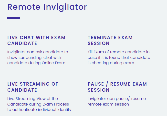 Remote Invigilator Role During Online Exams